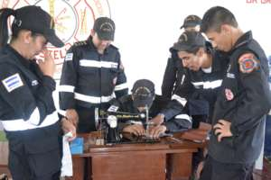 Fire Station in Esteli receives sewing machine