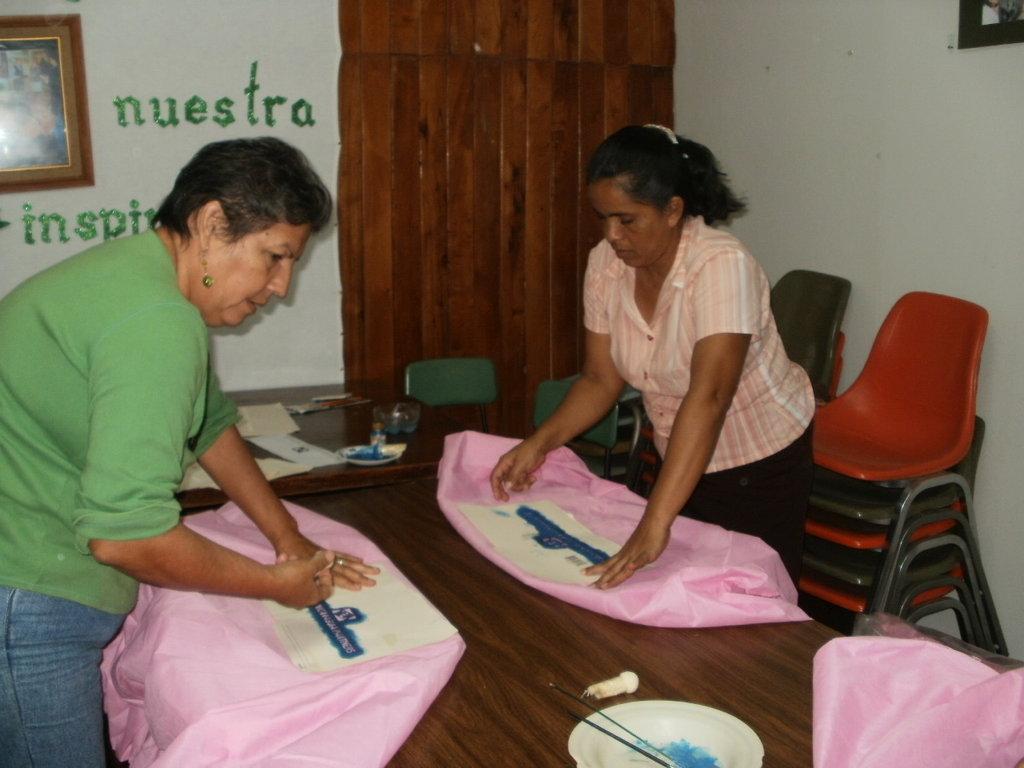 Sandra & Petronila during stenciling process