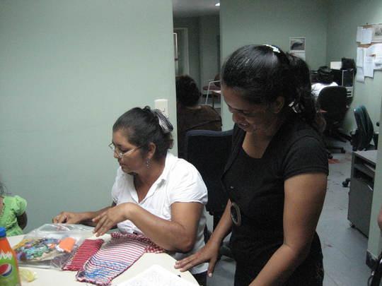 Petronila teaching smocking