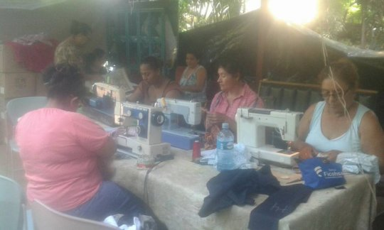 Sewing machines in use