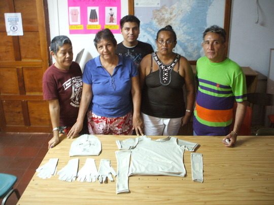 Volunteers who are making the garments