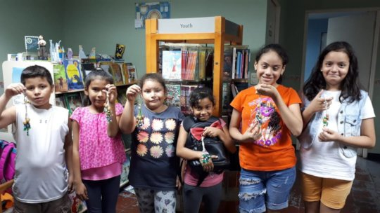 Library children proud of their finished crafts