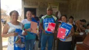 Receiving the educational supplies for community
