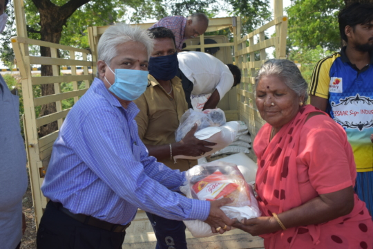 We distributed bags of rice and dahl
