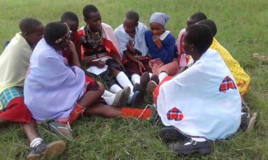 Group of school girls from maasai community
