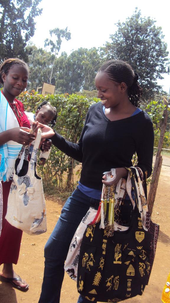 African handbags made  by teenage mums