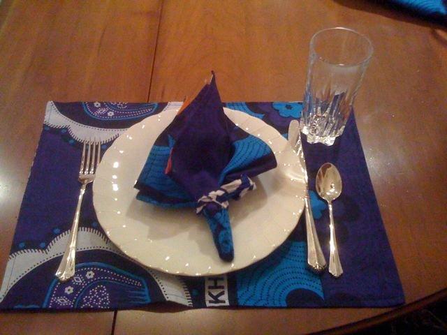 Kenyan kanga tablemats & nappkins made by the mums