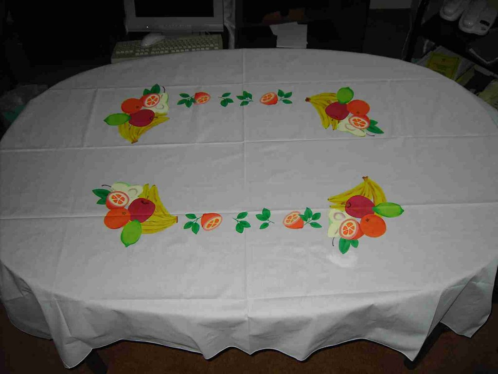 a painted tablecloth made by the teen mums