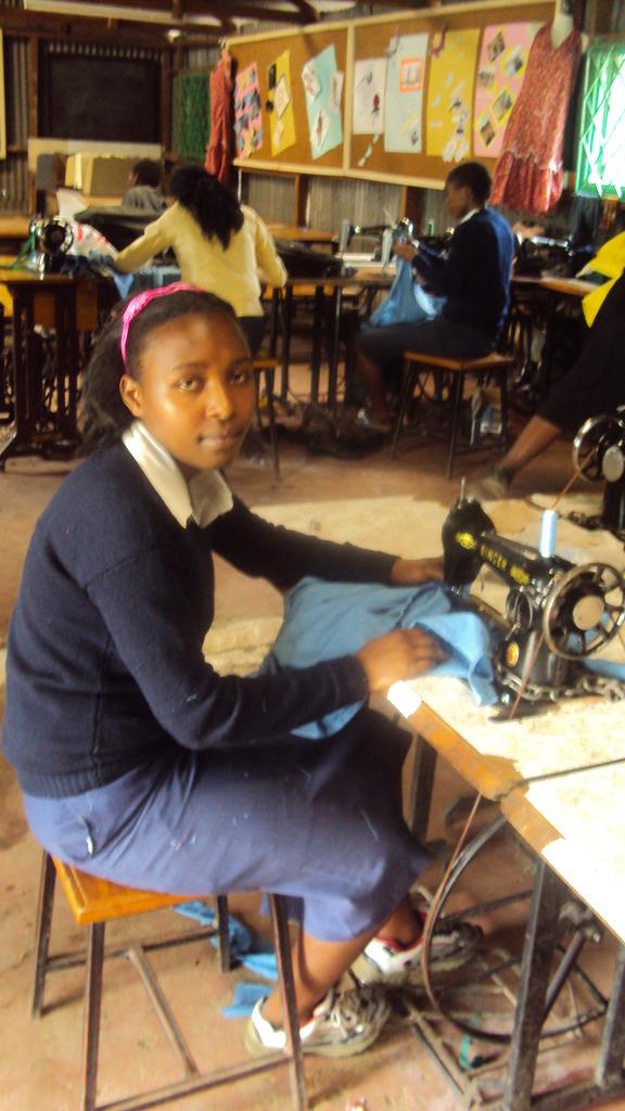 Joyce in a tailoring class