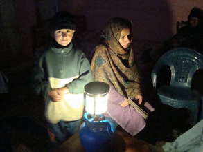 A gas-powered lamp in use