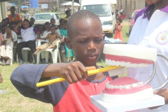 Oral hygiene talk and demonstration