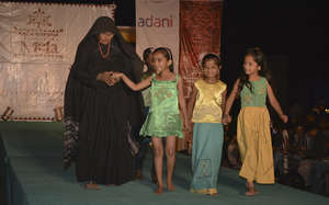 Jivaben with her playful children's collection