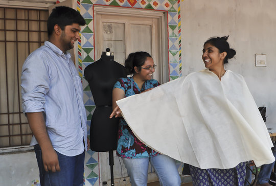 Adil and Ankita with a kaftan prototype
