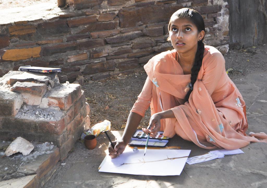 Sangita observes in morning sketching