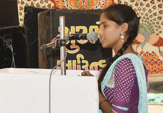 KRV Graduate Sangita makes a speech