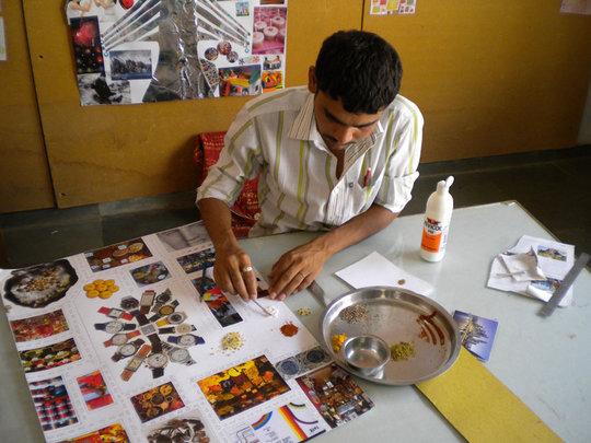 Nitesh working on theme board