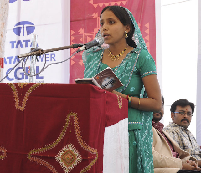 Graduate Lakshmiben delivers a convocation speech