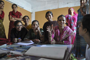 Eager women students in class