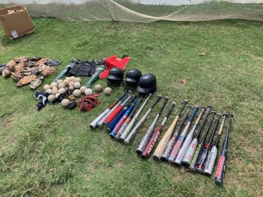 Some of the used baseball equipment