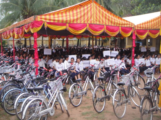 Bicycle giveaway ceremony