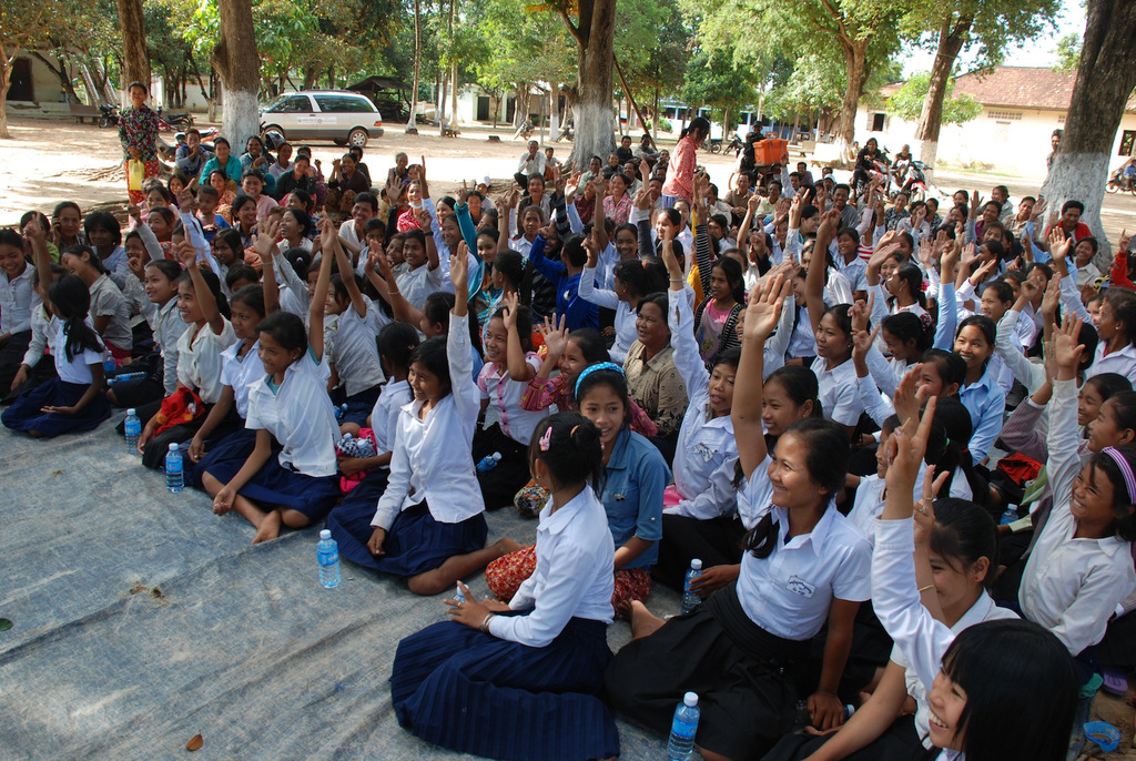 95 girls received bikes at this school in Pursat!