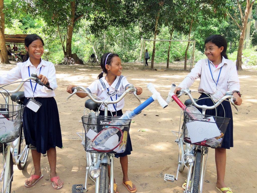 Sopheak receives a bicycle
