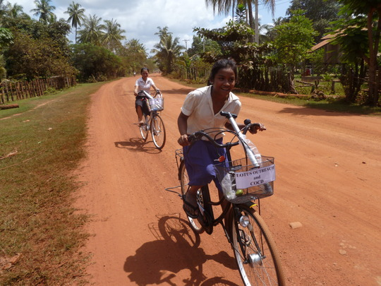 Biking the long road to school in rural Cambodia