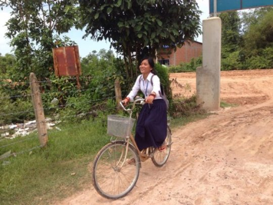 Theara on her Lotus Pedals bike
