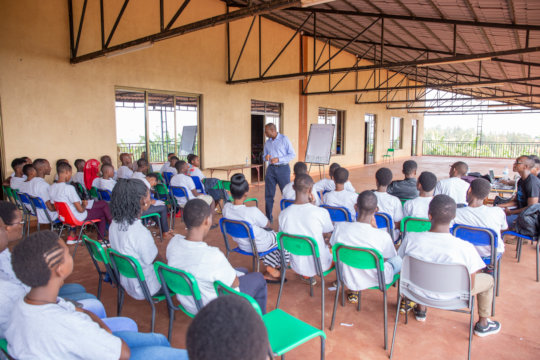 Honorable Francis Gatare speaking to students