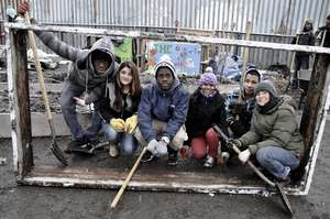 Green Team builds the beds