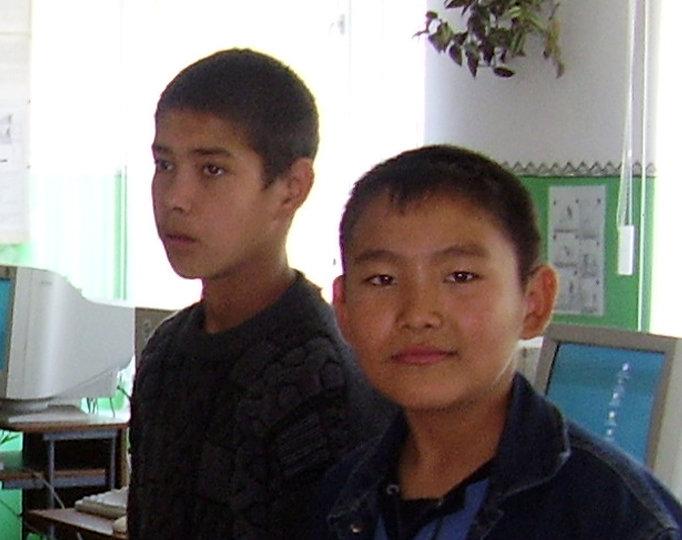 Two ethnic Altai boys in Russian-language school