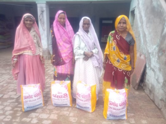 Mothers of students with their groceries