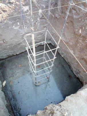 Footing being cured at 2 m below ground