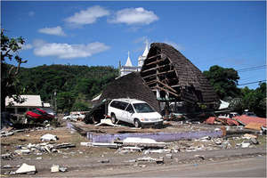 Debris in the village of Leone, American Samoa