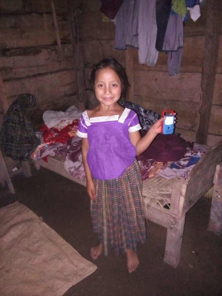 Girl at home with new solar light