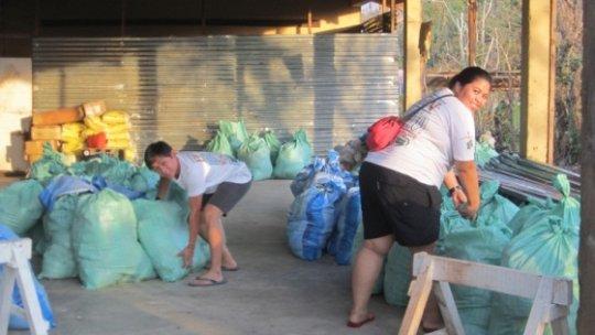 School staff helping in the relief efforts
