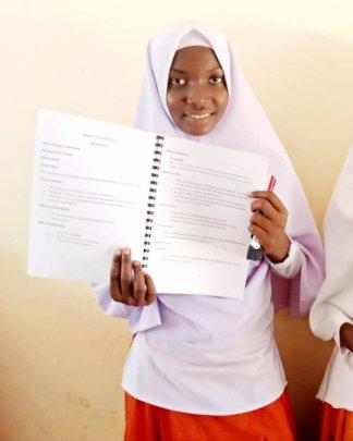 Jaida and her new Health Education book