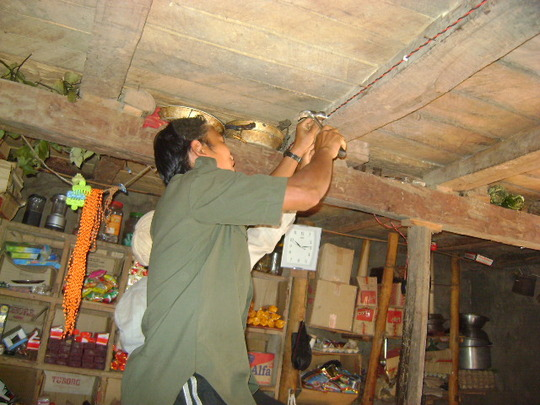 Wiring being installed from box to lamp