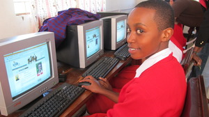 Student at AfricAid computer lab