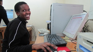 Tanzanian student at computer