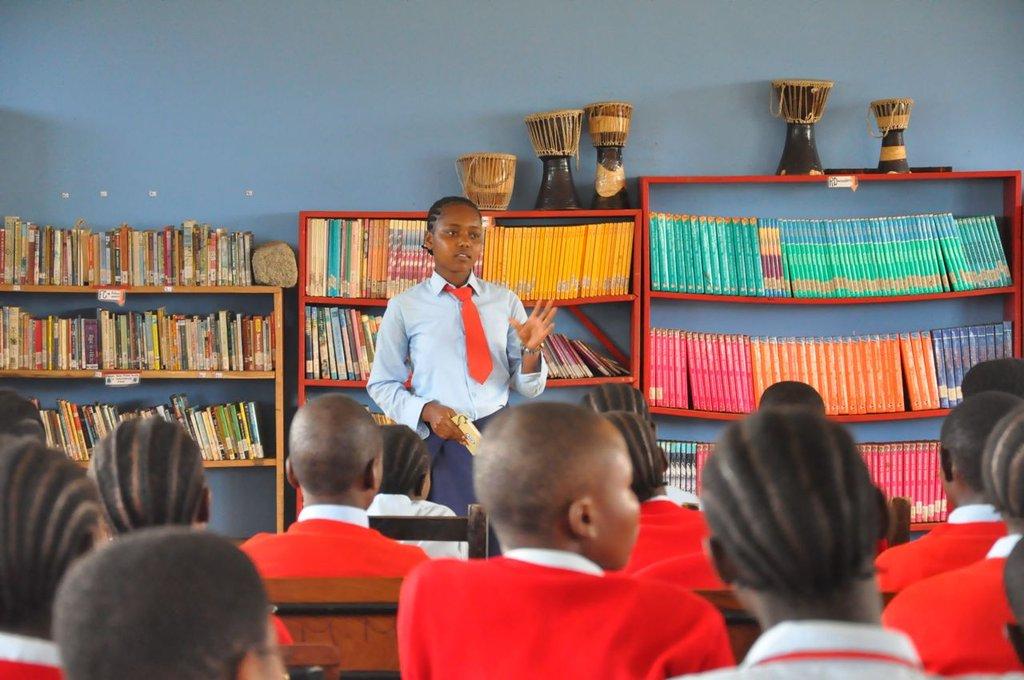 Margaret at Orkeeswa School in Tanzania