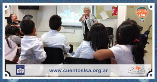 Celita interacts with deaf children at school