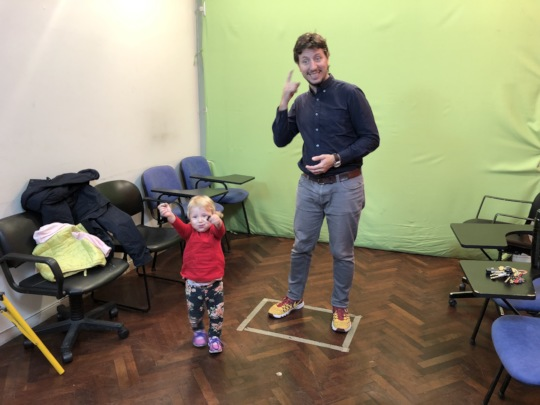 baby deaf Isabella with her deaf dad at the studio