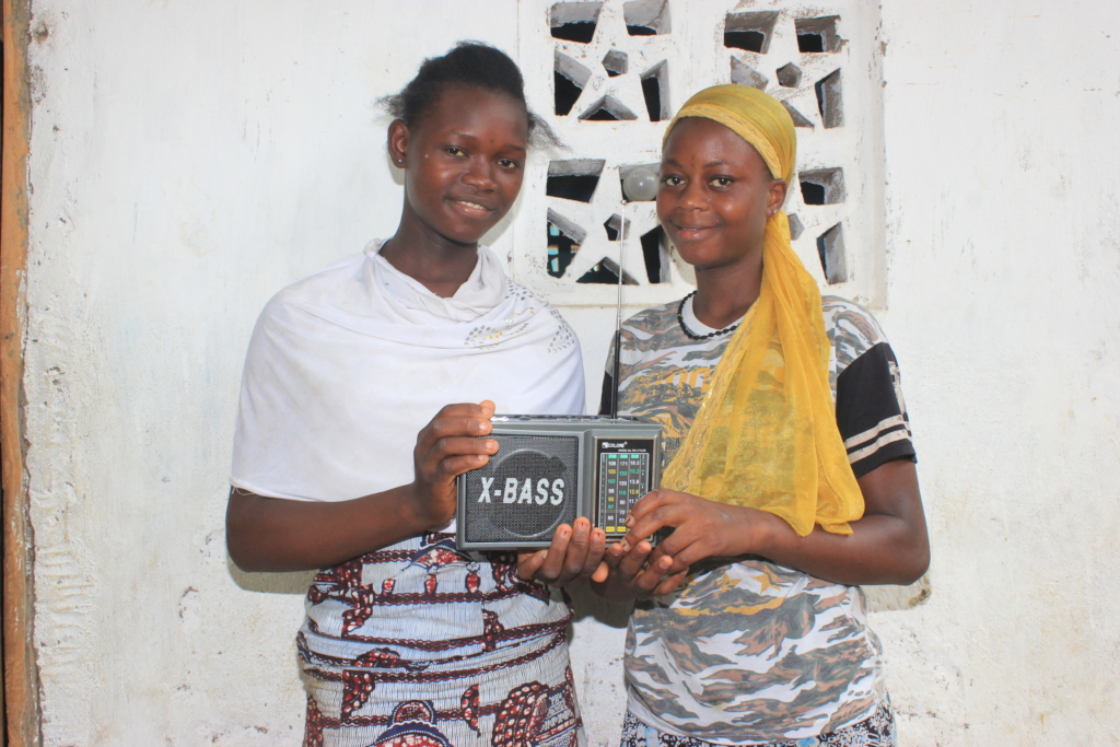 Isatu and Konnie with their radio