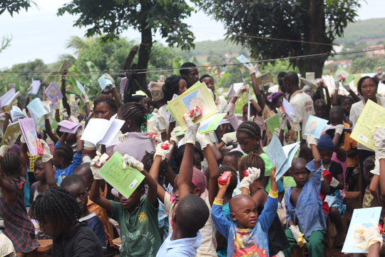 exercise books distributed to kids