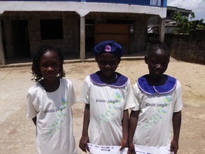 Girls wearing donated t-shirts