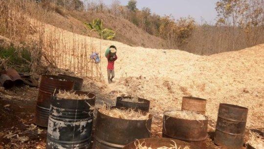 Corn waste loaded into TLUD's to make biochar