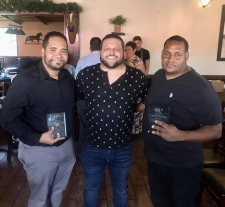 Xavier, Moises and Miguel during awards ceremony