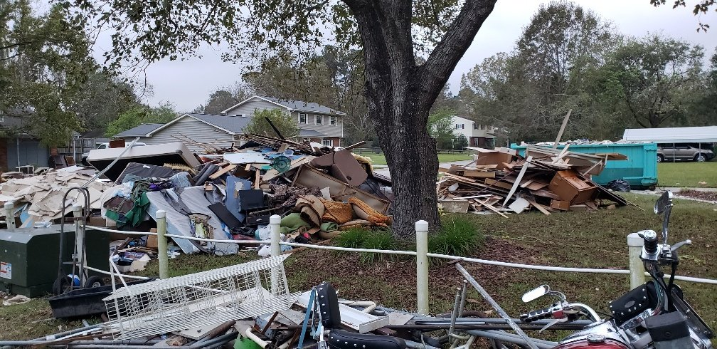 Entire home contents on front lawn