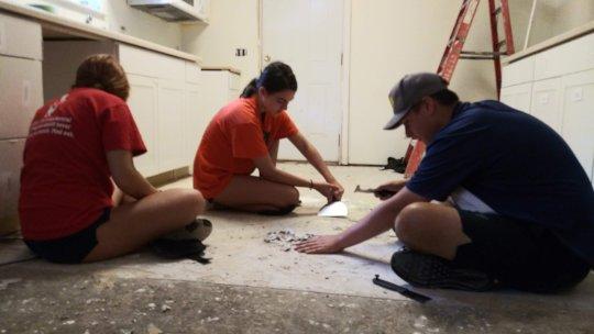 repairing flooring in the kitchen